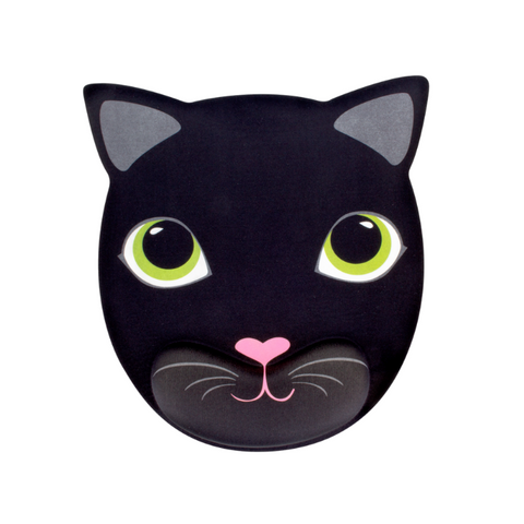 Black Cat Desk Mouse Mat with Wrist Support