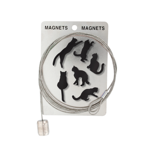 Magnetic Photo Display Cable & 6 Black Cat Magnets