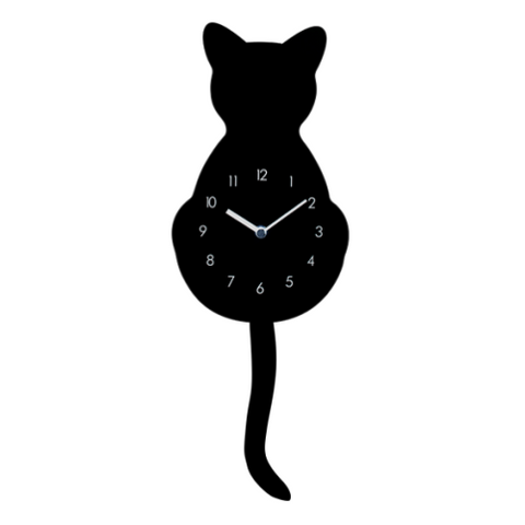 Wooden Black Cat Dancing Tail Wall Clock