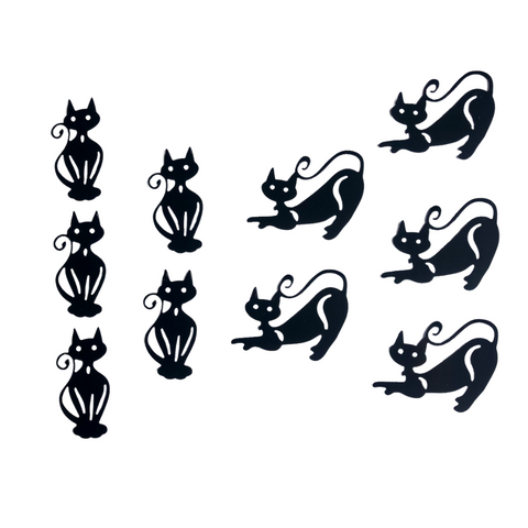Die Cut Cat Toppers for Crafts, Pack 10 (Swirly Tails)