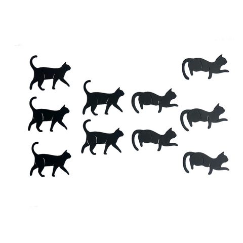 Die Cut Cat Toppers for Crafts, Pack 10 (Lay/Walk)