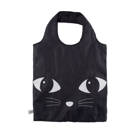 Sass & Belle Black Cat Foldable Shopping Tote Bag