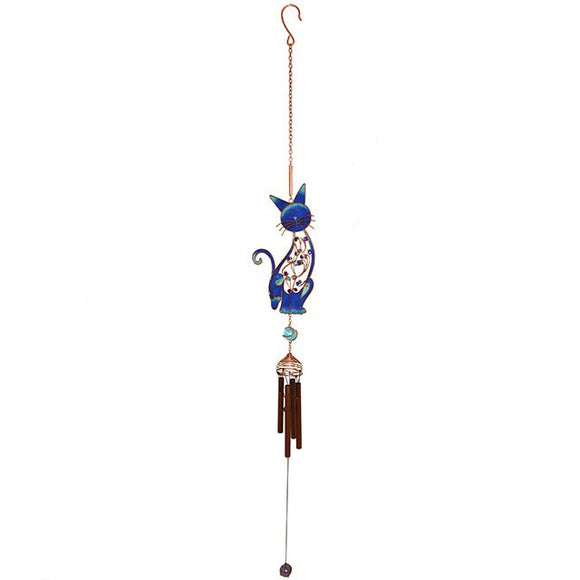 Beautiful Hand Crafted Blue Cat Wind Chime