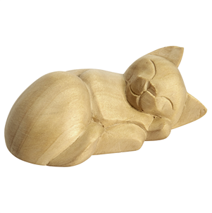 Hand Carved Satinwood Curled Cat Ornament