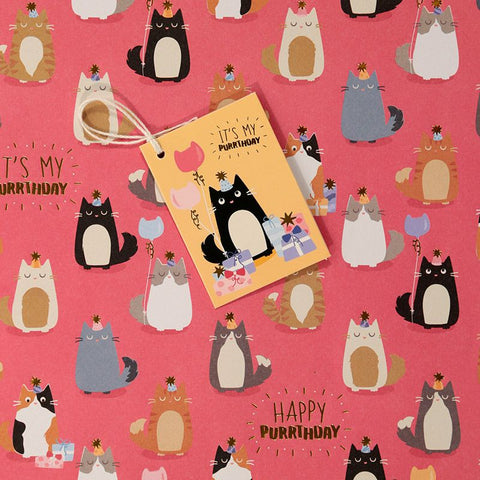 Feline Fine Metallic Birthday Wrapping Paper & Tag