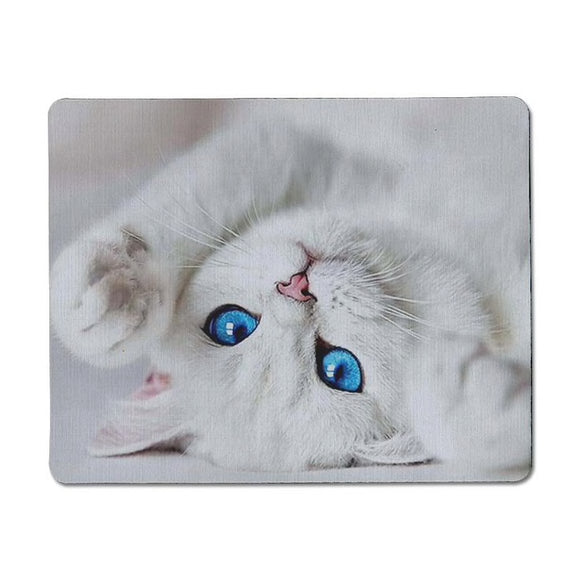 Kitty Cat Mouse Mat - White Cat / Blue Eyes