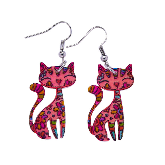 Acrylic Patterned Cat Dangle Earrings - Red/Pink