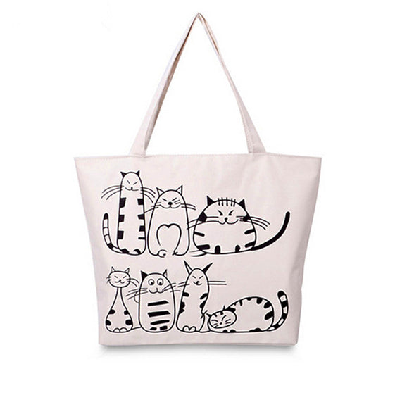 Cute Cats Large Canvas Shopping Bag - White