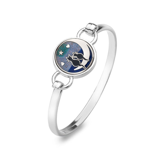 Black Cats on the Moon Enamel Bangle Gift Boxed