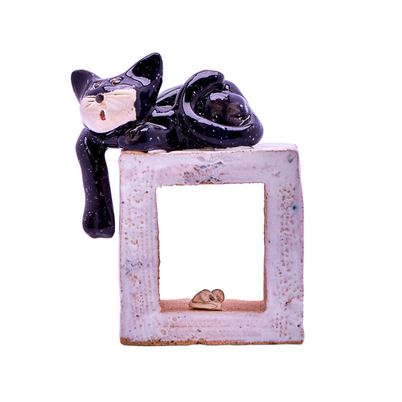 Unique Handmade Ceramic Cat on a Cube (3 Designs)