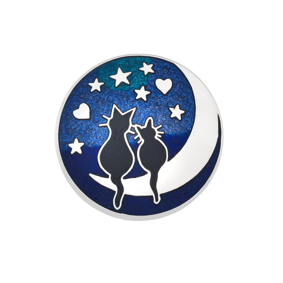 Black Cats on the Moon Enamel Brooch Gift Boxed