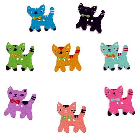 Cat Buttons - Various Colours and Designs, Pack 30