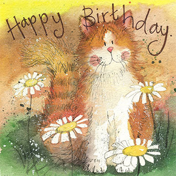 Alex Clark Classic Square Cat Card - Cat & Daisies