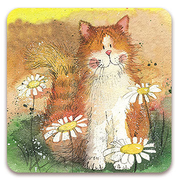 Alex Clark Single Coaster - Cat and Daisies