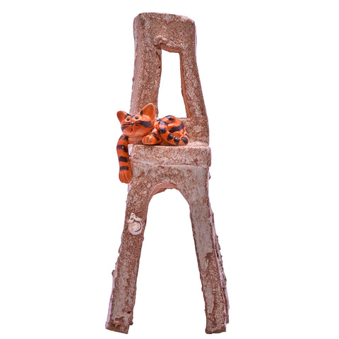 Unique Handcrafted Ceramic Cat on a High Chair