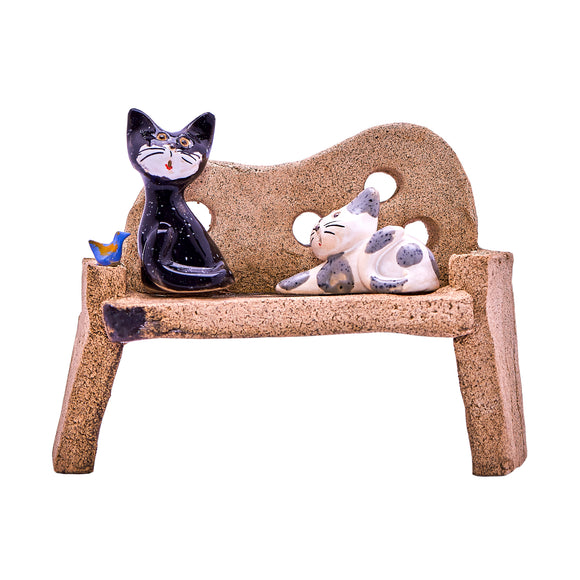 Unique Handmade Ceramic Cats on a Bench (2 Designs)