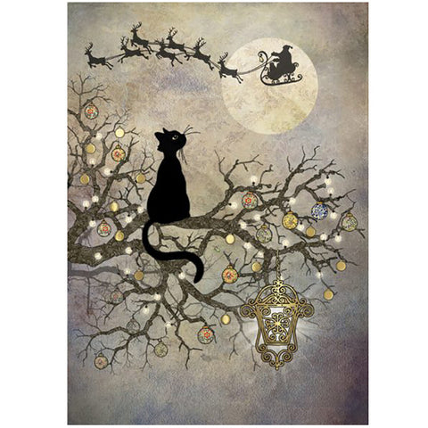 Bug Art Christmas Card - Moon Cat (Single)