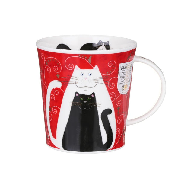 Dunoon Fine Bone China Cat Mug 'Chats D'Or' Black/White
