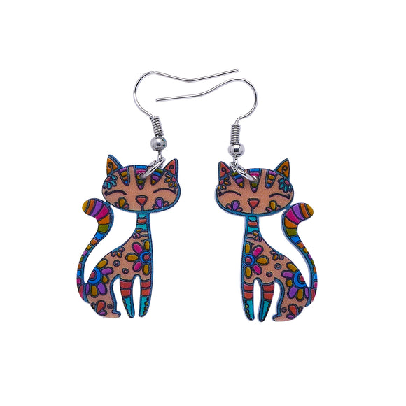 Acrylic Patterned Cat Dangle Earrings - Natural