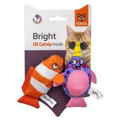 Fofos Bright Catnip Cat Toys - Clown Fish & Whale