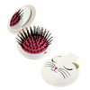 Lady Retro White Cat Compact Hairbrush & Mirror