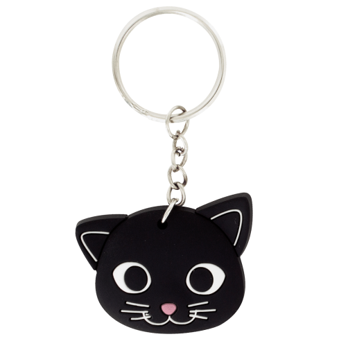 Charming Black Kitty Cat Keyring