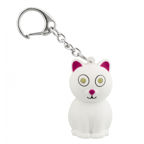 White Cat Keyring with LED Light and Meow Sound