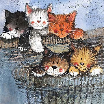 Alex Clark Classic Square Cat Card - Kittens