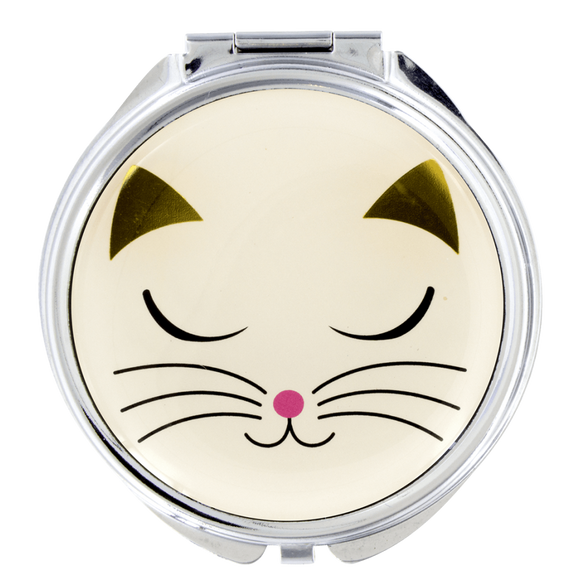 Lady Look White Cat Compact Pocket Mirror