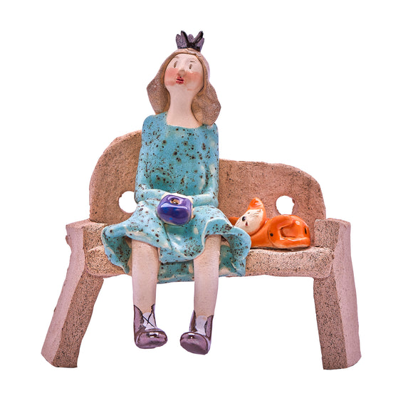 Unique Handmade Ceramic Lady & Cat on Bench - Aqua