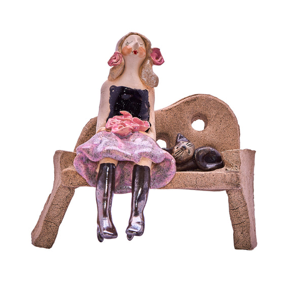 Unique Handmade Ceramic Lady & Cat on Bench - Black