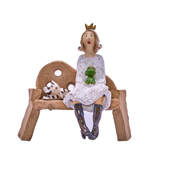 Unique Handmade Ceramic Lady & Cat on Bench - White