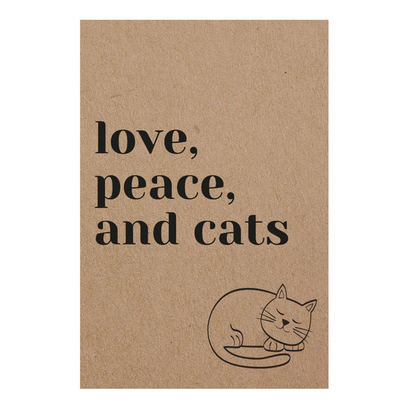 Exclusive Pocket Notebook 'love, peace & cats'
