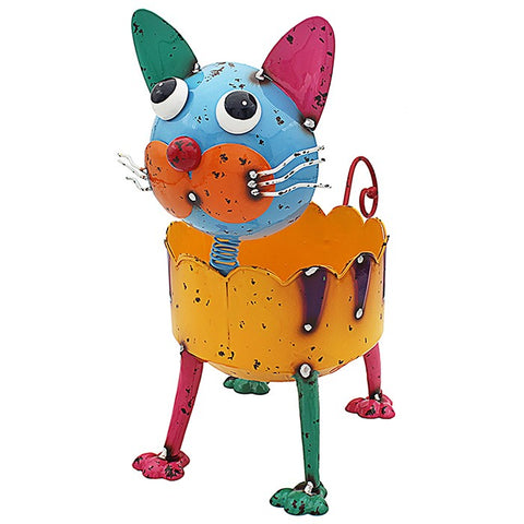 Bright Eyes Colourful Cat Plant Pot Holder
