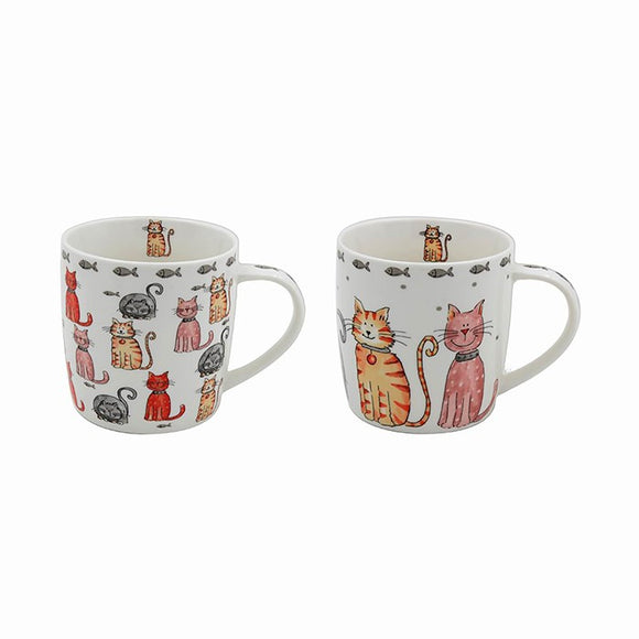 Comic Cats Fine China Mug - 2 Designs, Boxed