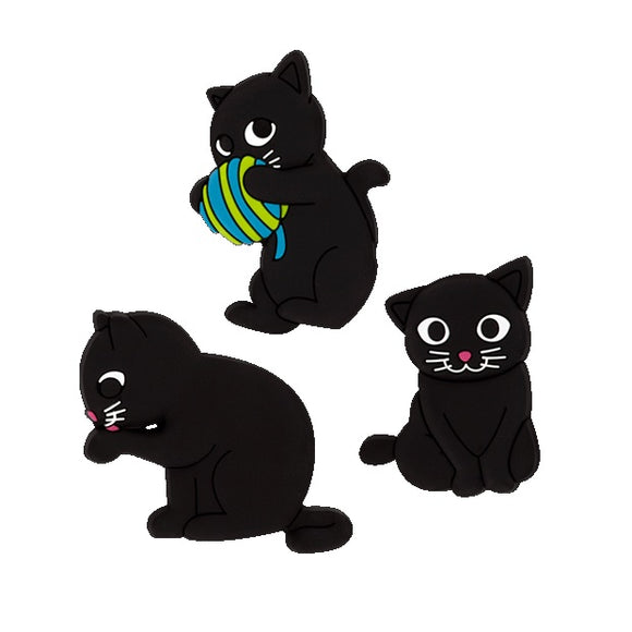 Happy Cats (1) Set of 3 Magnets - Green Ball