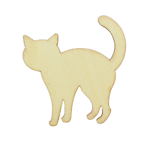Wooden Cat Shape for Crafts / Scrapbooking - Pack of 5