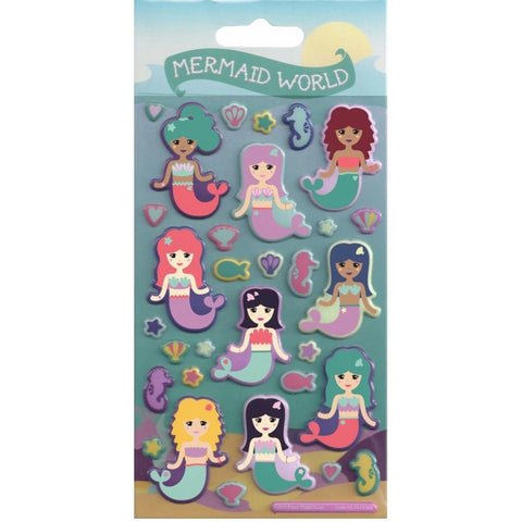 Mermaid World Puffy Foam Re-usable Stickers