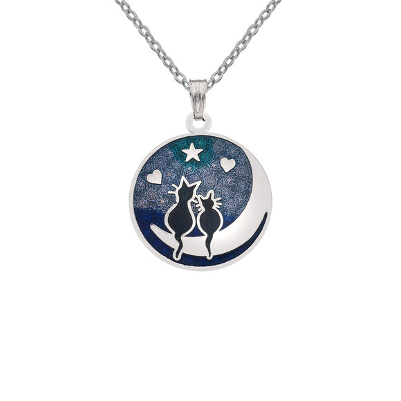 Black Cats on the Moon Enamel Pendant Gift Boxed