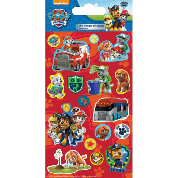 Nickelodeon Paw Patrol Fun Foiled Stickers, 17 Pack
