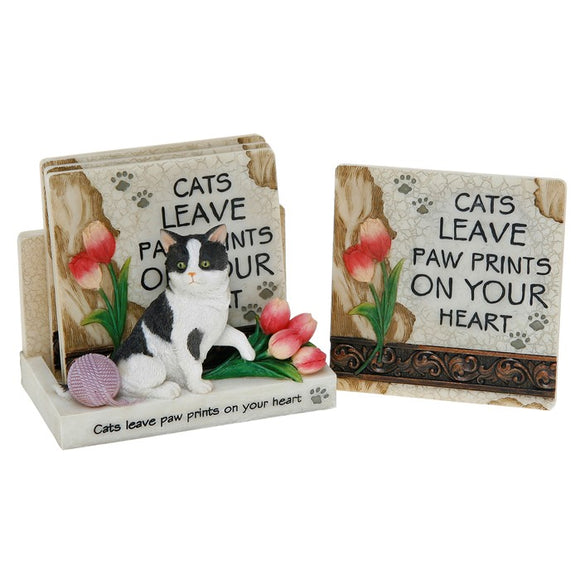 Cats Leave Pawprints - 4 Ceramic Coasters & Stand