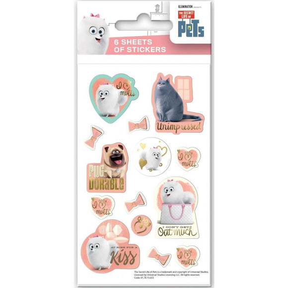 Secret Life of Pets Stickers - Party Pack, 6 Sheets