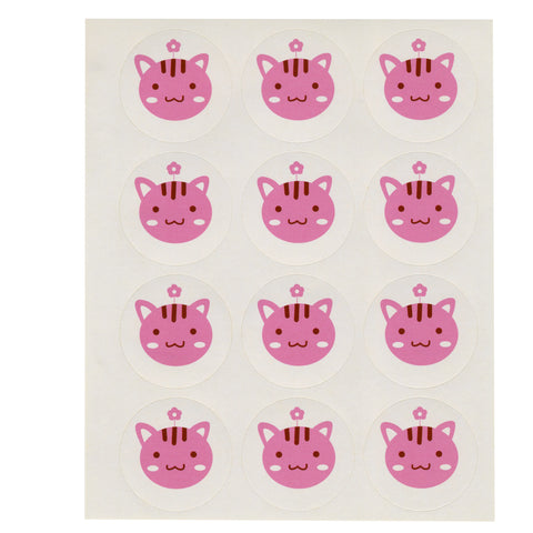 Pink Cat Face Stickers, 3 Sheets, 36 Stickers