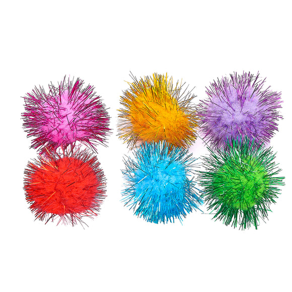 Colourful Pom Pom Tinsel Balls (Pack of 6)