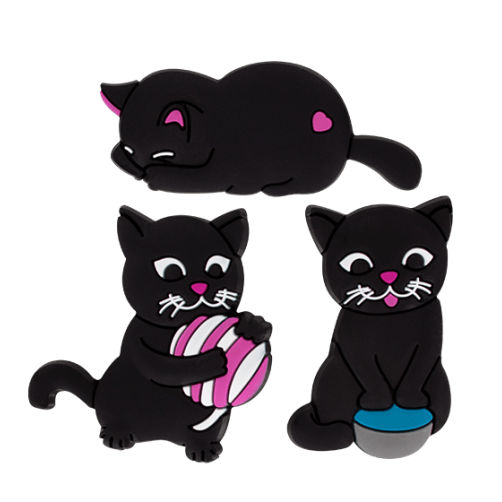Happy Cats Set of 3 Magnets - Pink Ball