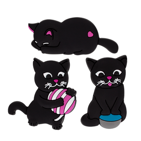 Happy Cats (4) Set of 3 Magnets - Pink Ball