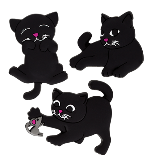 Happy Cats (2) Set of 3 Magnets - Mouse