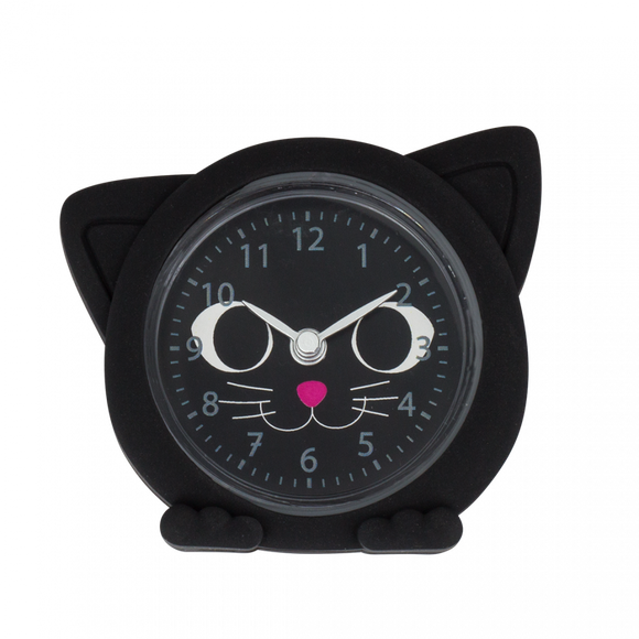 Black Cat Bedside Small / Travel Alarm Clock