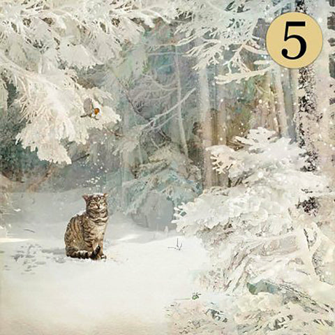 Bug Art Christmas Card - Snowy Cat (5 Pack)