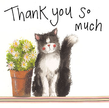Alex Clark Large Sparkle Card - Thank You Cat